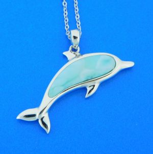 alamea sterling silver & larimar dolphin pendant