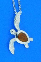 sea turtle koa wood pendant