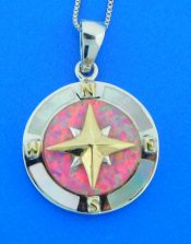 sterling silver & opal compass pendant