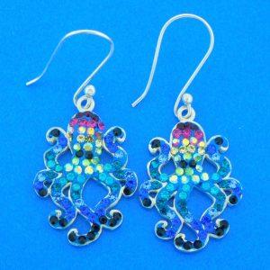 sterling silver octopus crystal earrings