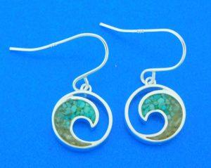 sterling silver wave dangle earrings
