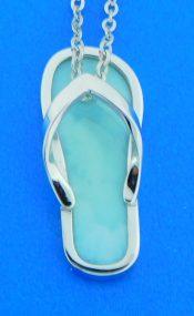 sterling silver larimar flip flop pendant