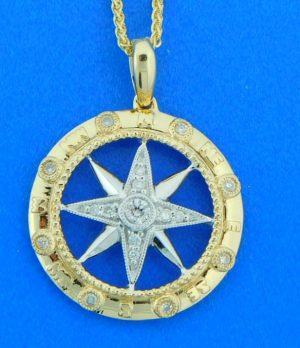 14k compass rose diamond pendant