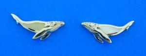 alamea sterling silver whale earrings