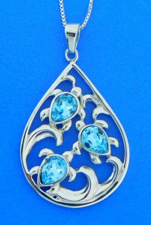 sterling silver & crystal sea turtle pendant