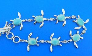 alamea sterling silver sea turtle larimar bracelet sterling silver