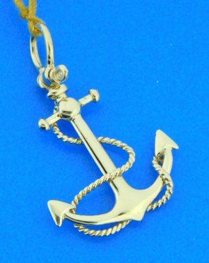 3-d 14k anchor pendant