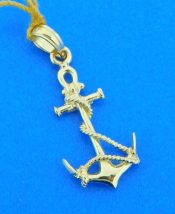 3-d 14k anchor pendant