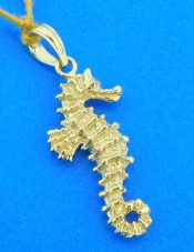 14k solid gold 3-d seahorse
