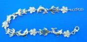 alamea sterling silver honu, plumeria, dolphin bracelet