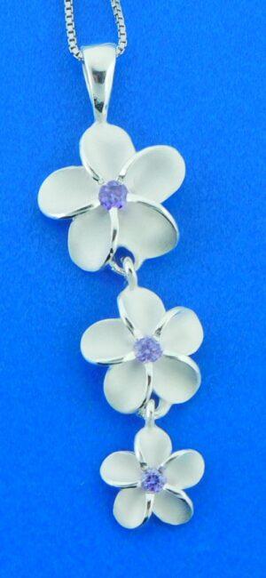 alamea 3 plumerias pendant sterling silver