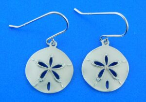 sterling silver dangle sand dollar earrings