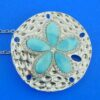 sterling silver larimar sand dollar pendant