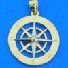 14k compass rose pendant 2-tone
