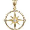 14k diamond compass pendant