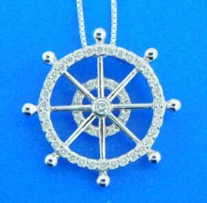 ships wheel diamond 14k pendant