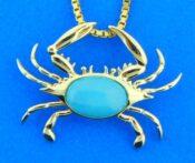 14k larimar crab pendant