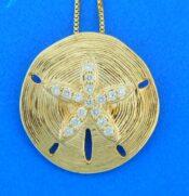 14k diamond sand dollar pendant