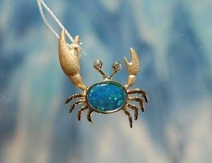 Denny Wong Crab Pendant W/2 Diamonds ,14K Yellow Gold