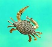 Denny Wong Pave' Diamond Crab Pendant,14K 2 Tone