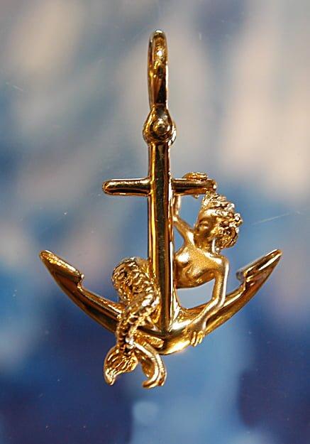 Steven douglas mermaid sitting on an anchor pendant 14k yellow on sale aloadofball Choice Image