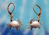 14k white gold denny wong crab earrings